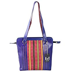 A&E Womens Sling Genuine Leather Kutch Cutwork Navy Blue Color Bags