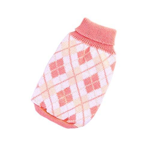 Bild von: stricken Rollkragen Hund Pullover Kleidung Argyle Patterns rosa