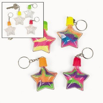 12 Star Sand Art Bottle Key Chains - 1
