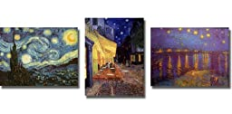 Starry Night, Cafe Terrace, & Starlight over the Rhone by Van Gogh 3-pc Premium Stretched Canvas Set (Ready-to-Hang)
