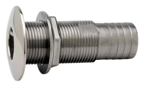 Attwood Stainless Steel Barbed Standard Length Straight Thru-Hull, 3/4-Inch