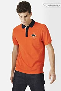 Short Sleeve Applique Croc Pique Polo