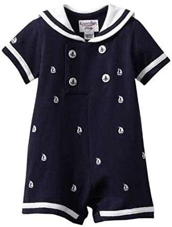 Kitestrings Baby-boys Newborn Embroidered Pique Sailor Romper, Blue, 0-3 Months