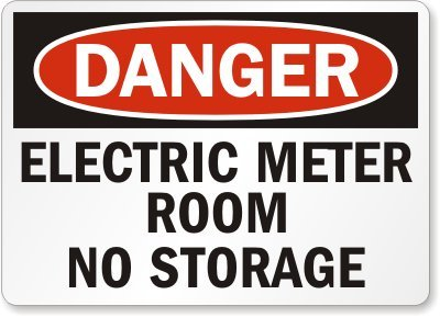 "Smartsign Adhesive Vinyl Osha Safety Sign, Legend ""Danger: Electric Meter Room No Storage"", 10"" High X 14"" Wide, Black/Red On White"