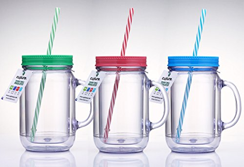 Cupture Double Wall Insulated Plastic Mason Jar Tumbler Mug with Striped Straws - 20 oz, 3 Pack (Aladdin Cups With Straws compare prices)