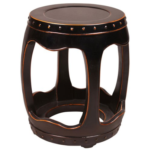 Cheap EXP Handmade 18″ Black Wood Barrel-Shape Accent / End Table With Carved Open Leg Design (B001B11G82)
