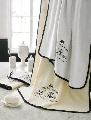 Kassatex Le Bain Collection Towels, Bath Towel - White/Black Bain Bath