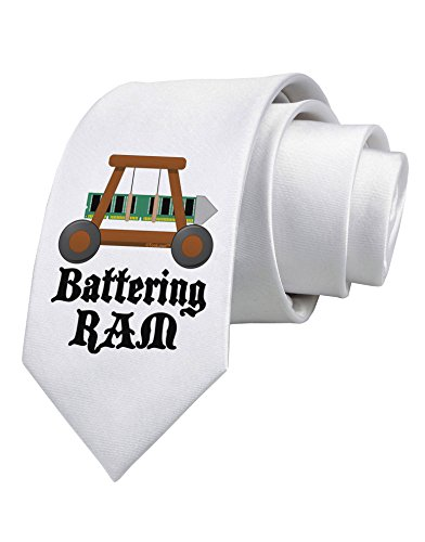 TooLoud Battering RAM Text Printed White Neck Tie
