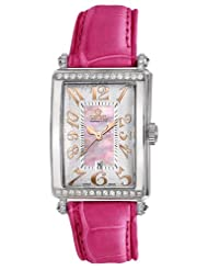 Gevril Women's 7248RT.10B Pink Mother-of-Pearl Genuine Alligator Strap Watch