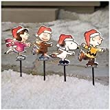 Peanuts Snoopy Linus Lucy and Charlie Brown Christmas Lighted Pathway Markers