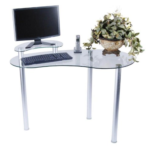 Buy Low Price Comfortable Clear Glass Computer Desk with Shelf (Clear and Silver) (45.5″W x 30″H x 23.5″D) (B004CWZHY6)