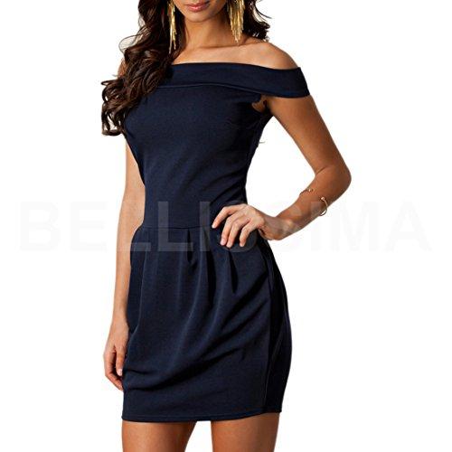 ABILIO - vestitino donna cerimonia vestito corto festa abito donna abitino elegante jersey minivestito_BLU_M