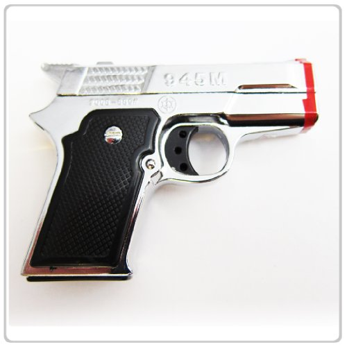 1x-silver-pistol-twin-torch-lighter-refillable-cigar-cigarette-lighter