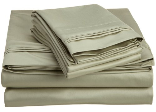 Egyptian Cotton 1500 Thread Count Oversized Queen Sheet Set Solid, Sage