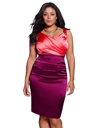 eloquii Ruched Colorblock Dress Women's Plus Size Berry 24W
