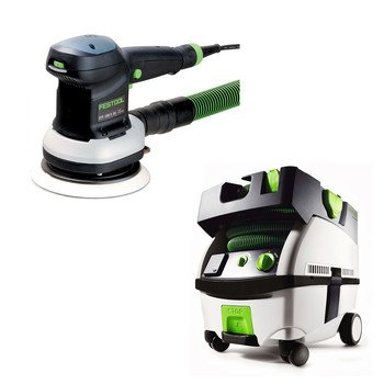 Festool Pn571916 Ets 150/5 Eq 6 In. Random Orbital Finish Sander With Ct Mini Hepa 2.6 Gallon Mobile Dust Extractor front-633144