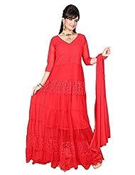Trendz Apparels Red Net Brasso Anarkali Suit Salwar Suit