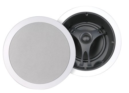Stellar Labs 6.5 Inch Ceiling Speaker Pair Cloth Backed Microperforated Aluminum Grill