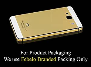 Febelo Branded Luxury Glass Back Aluminium Side Panel Back Replacement Battery Injection Case Cover for Xiaomi Redmi 2 / Xiaomi Redmi 2 Prime - White Gold