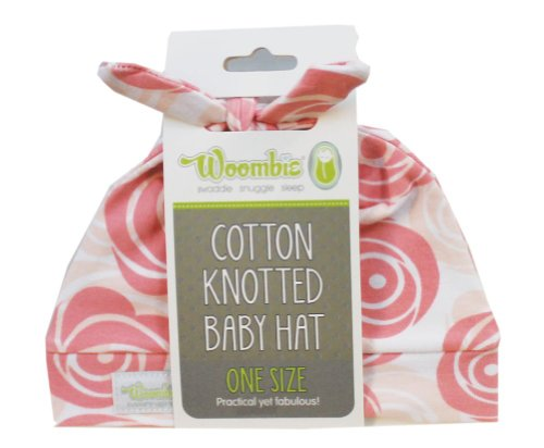 Woombie Cotton Double Knot Beanie Hats, Roses, 0-6m