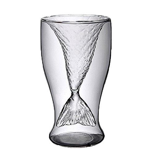 FTSUCQ Mermaid Creative Transparent Beer Water Wine Drinking Glass Mug Shotglasses, Set of 4