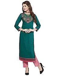 Sheknows Women's cotton kurti(PTHKR4809MON_4_L_Green Embroidered Kurti))