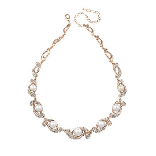 Neoglory Jewelry Fashion Vintage Rose Gold Plated With Swarovski Element Rhinestone Simulated Pearl Collar Necklace