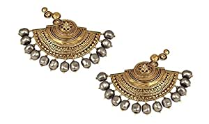 JJ Valaya Ranas of Kachch Half Circle Earrings with Crystals from Swarovski