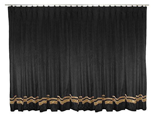 Saaria Black Luxury Backdrop Velvet Pinch Pleated Drapes With Gold Strip Window Treatments Stage