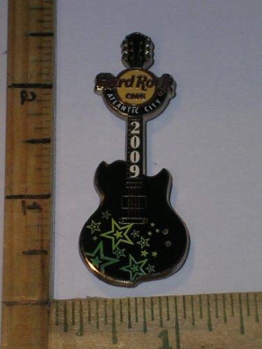 100 Hologram Limited Edition Atlantic City Hard Rock Cafe Guitar Pin, Very Rare Black Guitar & Green Lime Stars, Hard Rock Guitar Pin, Hard Rock