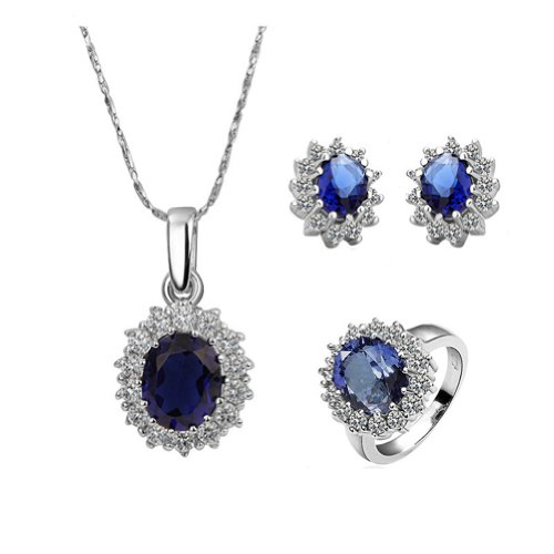 18k Gold Plated Swarovski Elements Crystal CZ Rhinestone Jewellery Sets Necklace, Ring, Earrings