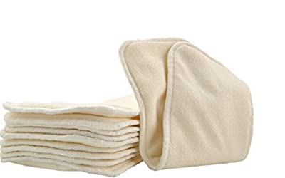 Lil' Eco's 4 Layer Bamboo Insert for Heavy Wetters- Ultra Absorbent for Everyday or Overnight use in Cloth Diapers (6 Pack Plush Bamboo Inserts)