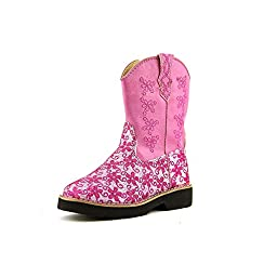 Roper Infant-Girls\' Glitter Flower Cowgirl Boot Pink 6 US