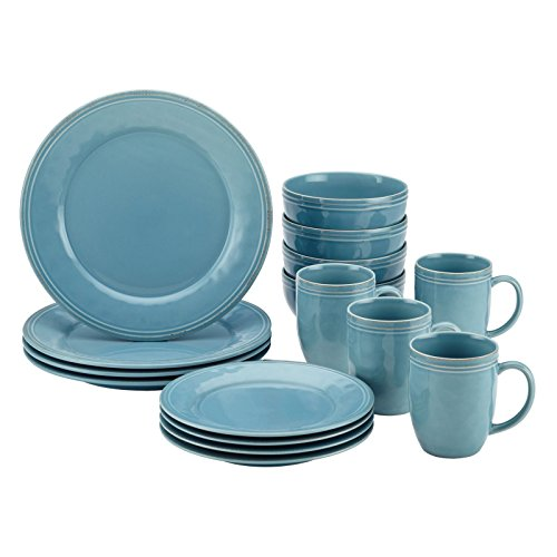 Rachael Ray 55093 Cucina 16-Piece Stoneware Dinnerware Set Agave Blue __#quality-choice