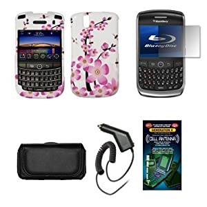Blackberry Tour 9630 Black Leather Carrying Pouch+ Spring Flowers Design Snap-on Hard Case Cover+ Premuim LCD Screen Protetor+Rapid Car Charger+ Antenna Booster Combo For Blackberry Tour 9630