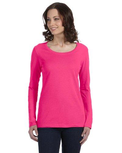 Anvil 399 Ladies Sheer Long-Sleeve Scoop Neck T-Shirt - Hot Pink - S front-554271