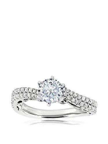 Kobelli 14K White Gold Round Moissanite & 2/5-Cttw. Diamond Ring