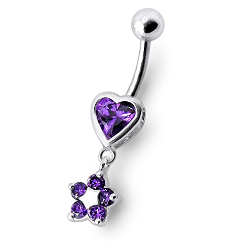 Purple Gems Heart with Flowers Dangling 925 Sterling Silver Belly jewelry with 14Gx3/8(1.6x10MM) 316L Surgical Steel Banana and 5MM Ball. (Confederate Flag Belly Ring compare prices)