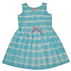 CrayonFlakes Kids Wear for Girls 100% Cotton Sleeveless Striped Frock Dress