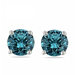 1/2 ct. Blue - Round Cut Diamond Earring Studs in 14K White Gold (4-Prong, 0.50cttw)