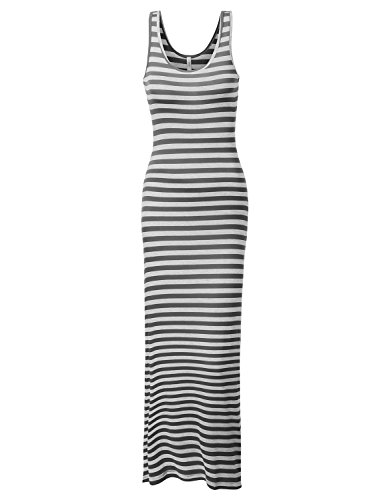 J.Tomson Womens Striped Sleeveless Maxi Dress Charcoal Heather Gray Medium