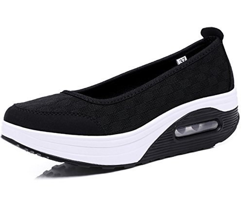 DADAWEN Women's Athletic Casual Slip-On Toning Walking Shoe Black US Size 8.5