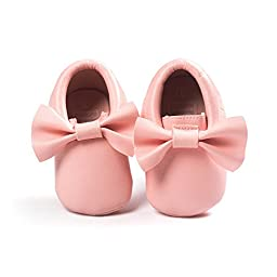 Bow Leather Baby Moccasins for Boy Girl Infant Toddler Pre-walker Crib Shoes (S(4.9inches), Pink)