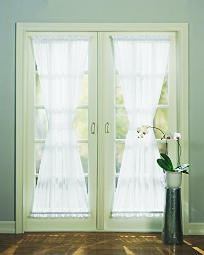 No. 918 Emily Sheer Voile Single Curtain Door Panel, 59 x 72 Inch, White (Blinds French Doors compare prices)