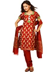 Exotic India Garnet-Red Brocaded Salwar Suit From Banaras With All-Over Wo - Red
