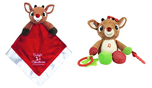 Rudolph the Red-Nose Reindeer Baby 1st Christmas Blanky and Activity Toy Set - 1