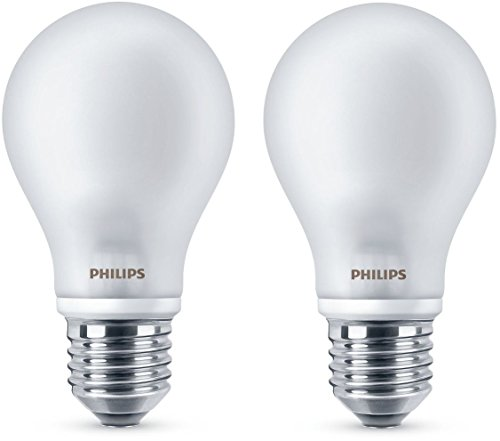 Philips Incaled7Sm2Bc 2 Lampadine Led Classic A60 E27, Plastica, Bianco, 7 Watts