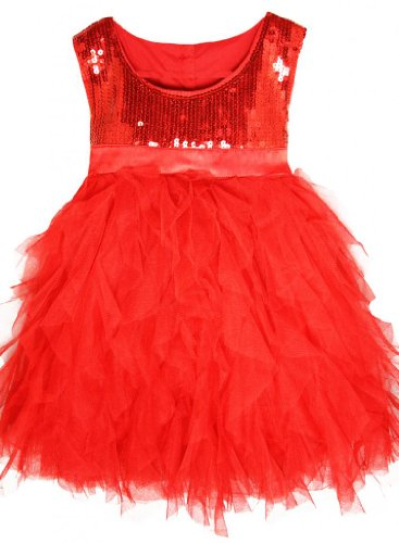 Red Sequin & Tulle Girls Dress