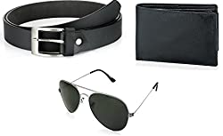 Rico Sordi Wallet Belt With Black aviator Sunglasses For Men (RSD704_WSGB)