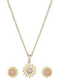 Gold Brass Pendant Set For Women (SiM1996)